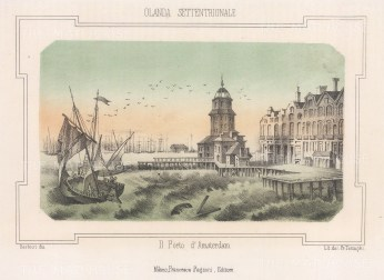 """Pagnoni: Amsterdam, Netherlands. c183. An original tinted antique lithograph. 6"""" x 4"""". [NETHp202]"""
