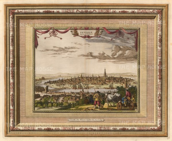 "van der Aa: Seville, Spain. 1700. A hand coloured original antique copper engraving. 17"" x 13"". [SPp1074]"