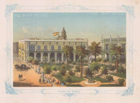 Cuba: Havana. View over the Plaza de Armas. With decorative blue border. From the 'pirate' edition by Bernardo May.
