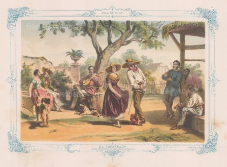 Cuba: El Zapateado: The national dance of Cuba. With decorative blue border. From the 'pirate' edition by Bernardo May.