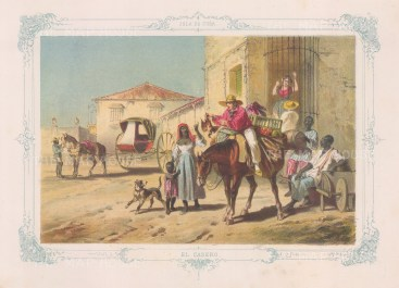 Cuba: Havana. El Casero. The merchant of home grown foods. With decorative blue border. From the 'pirate' edition by Bernardo May.