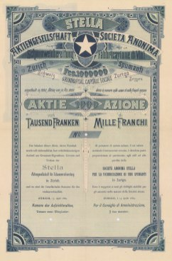 """Orell Fussli & Co.: Anonima per la fabbriaczione di vini spumante, Zurich. 1000 Franc Share certificate. 1889. An original colour antique mixed method engraving. 9"""" x 14"""". [BONDp59]"""