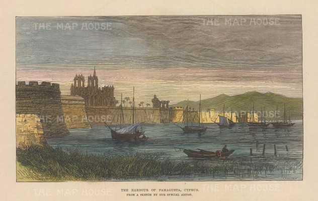 """Illustrated London News: Famagusta, Cyprus. 1878. A hand coloured original antique wood engraving. 8"""" x 5"""". [MEDp326]"""