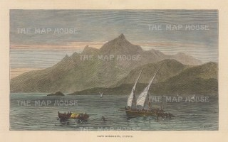"""Illustrated London News: Cape Kormakiti, Cyprus. 1878. A hand coloured original antique wood engraving. 8"""" x 5"""". [MEDp328]"""