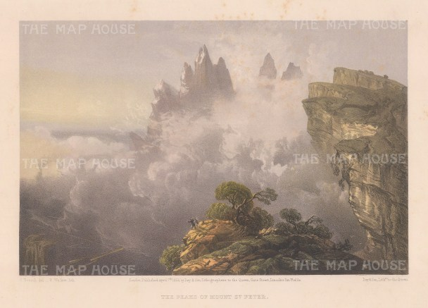 """Bossoli: Mount St Peter, Ukraine. 1856. An original colour antique lithograph. 11"""" x 7"""". [RUSp800]"""