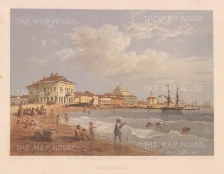 Eupatoria: View of of the seafront showing the Custom House, Mosque and Orthodox church.