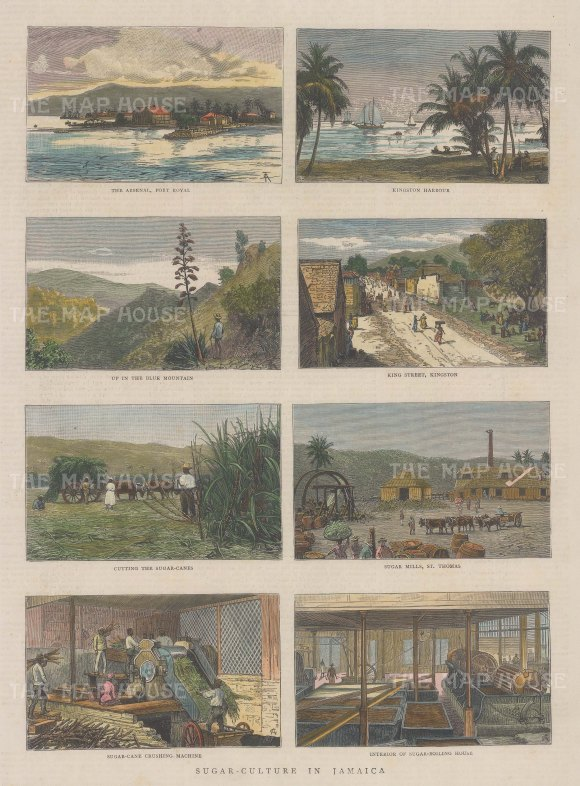 Jamaica: Kingston. Views of King Street and the Harbour, Port Royal, Blue Mountain with four scenes of sugar production.
