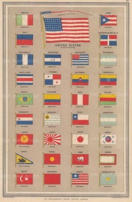 "Philip & Son: Flags of All Nations. c1920. An original antique chromolithograph. 10"" x 14"". [ARMp40]"