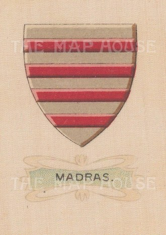 """Cigarette Cards: India. Madras City arms. c1915. Original printed colour on silk. 2"""" x 3"""". [ARMp57]"""