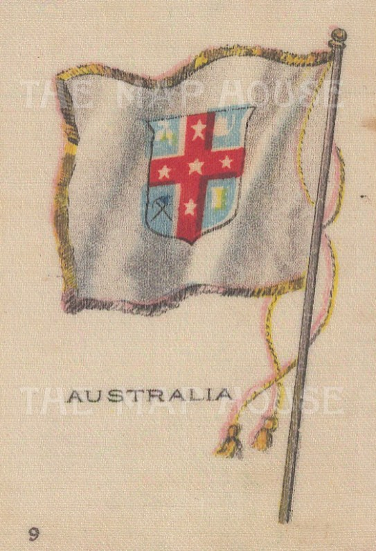 "Cigarette Cards: Australia, National Colonial flag. c1910. Original printed colour on silk. 2"" x 3"". [ARMp5]"