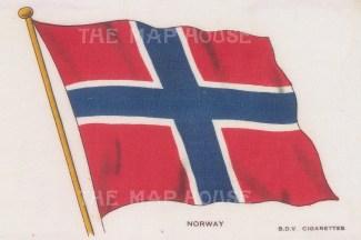"BDV Cigarettes: Norway. c1910. Original printed colour on silk. 6"" x 4"". [ARMp93]"