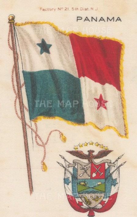 "Nebo Cigarettes: Panama. c1908. Original printed colour on silk. 2"" x 4"". [ARMp94]"