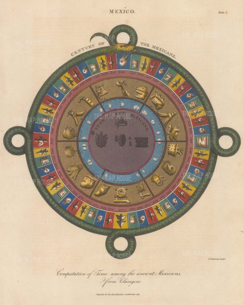 SOLD. Aztec Calendar: The Serpent, symbol of the calendar, surrounds the 4 year-bearers (Tochtli, Cagli, Tecpatl and Acatl), the moon phases and the symbols for the 18 month year and 52 year century.
