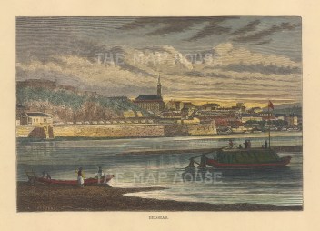 "Reclus: Belgrade, Serbia. 1894. A hand coloured original antique wood engraving. 8"" x 6"". [CEUp544]"