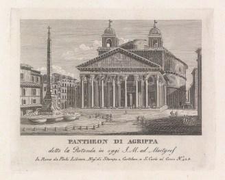 "Piale: Pantheon, Rome. 1839. An original antique etching. 5"" x 4"". [ITp2265]"