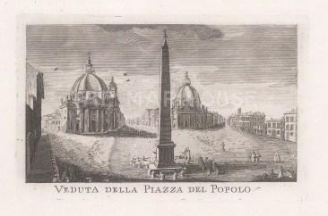 "Piale: Piazza del Popolo, Rome. 1839. An original antique etching. 5"" x 4"". [ITp2271]"