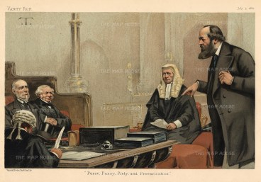 'Purse, Pussy, Piety and Prevarication'. Lords Northbrook, Granville, Selborne and Salisbury: First Lord of the Admiralty, Foreign Secretary, Lord Chancellor and the future Prime Minister.