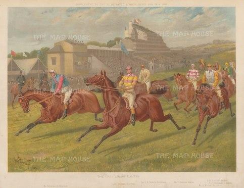 Epsom Derby: Preliminary Canter. View of winner Sir Visto and jockey Sam Coates, Racontuer, Kirkconnel, Curzon, Le Var, Laveno, and Solaro. After John Sturgess.