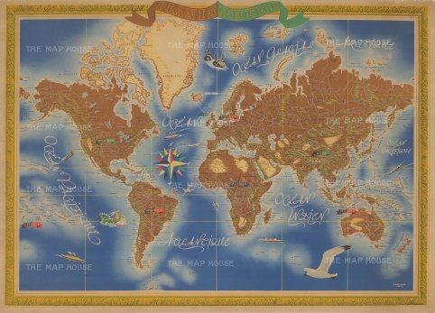 """Planisphere: World map poster with a border proclaiming """"Zones de la Liberation"""" in reference to the end of World War II"""