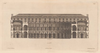 Architectural Elevation: Corps de Logis with Carytides and Atlantes by Inigo Jones.