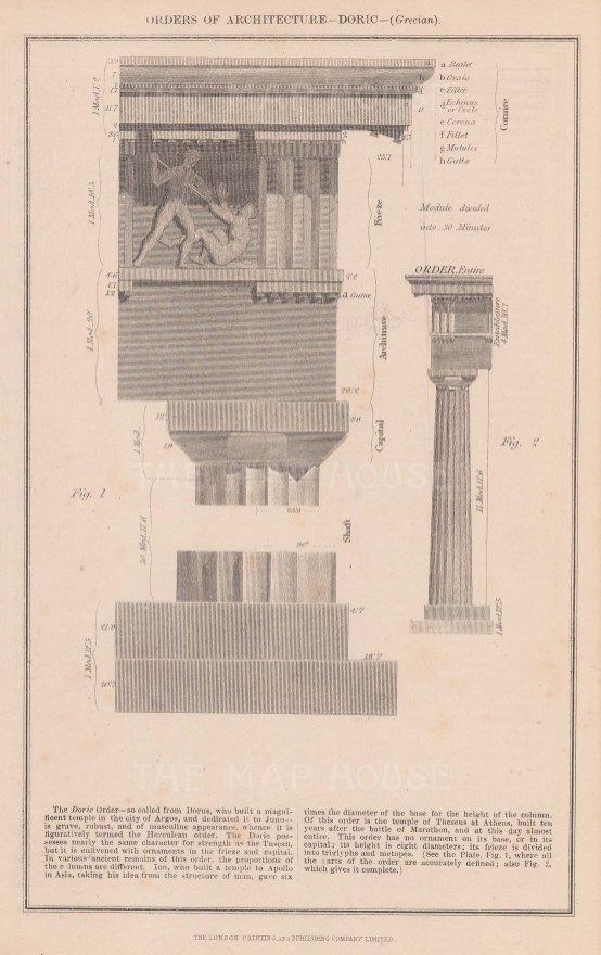 "Anonymous: Doric Order. c1855. An original antique steel engraving. 6"" x 10"". [ARCHp907]"
