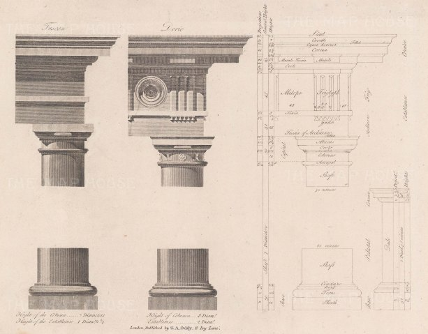 """Oddy: Doric & Tuscan Orders. c1800. An original antique copper engraving. 10"""" x 8"""". [ARCHp910]"""