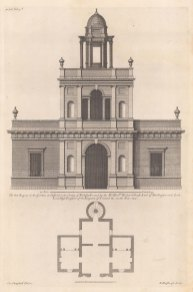 """Campbell; Bath-House, Chiswick Gardens. 1720. An original antique copper engraving. 10"""" x 15"""". [ARCHp914]"""