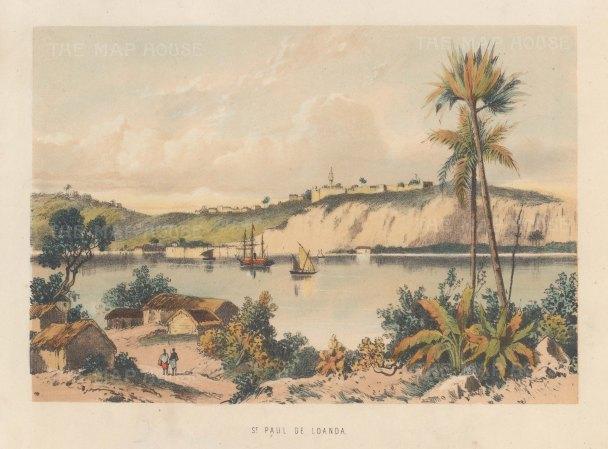 """Anonymous: St Paul de Loanda, Angola. c1880. An hand colour original antique lithograph. 9"""" x 7"""". [AFRp1434]"""