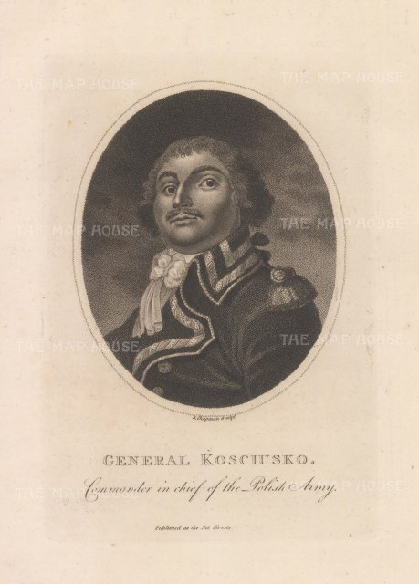 "Wilkes: General Koschiusko, Poland. 1826. An original antique stipple engraving. 7"" x 5"". [CEUp552]"