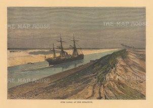 "Reclus: Serapeum, Suez. 1894. A hand coloured original antique wood engraving. 8"" x 6"". [EGYp1164]"