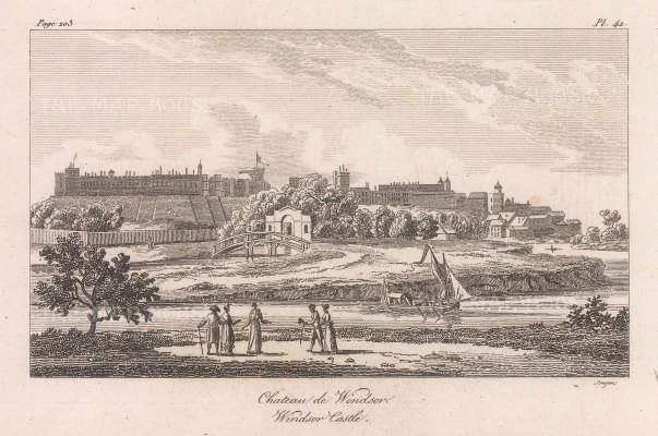 "Baugean: Windsor Castle. 1814. An original antique copper engraving. 6"" x 4"". [ENGp343]"