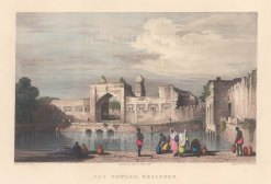 "Elliot: Taj Bowlee, Bejapore. c1842. A hand coloured original antique steel engraving. 6"" x 5"". [INDp1335]"