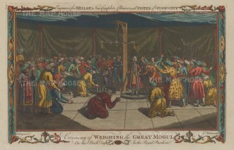 Ceremony of weighing the Great Mogul on his birthday. The Royal pavilion was part of the mobile encampment of the Mogul court.