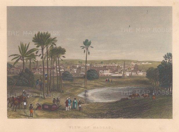 """Allom: Madras. c1840. A hand coloured original antique steel engraving. 8"""" x 6"""". [INDp1388]"""