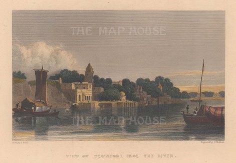 "Allom: Cawnpore. c1840. A hand coloured original antique steel engraving. 8"" x 6"". [INDp1401]"