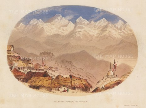 Darjeeling: Bhootia Busti with the Eastern Himalayas. After the first Western artist to depict the Eastern Himalayas.