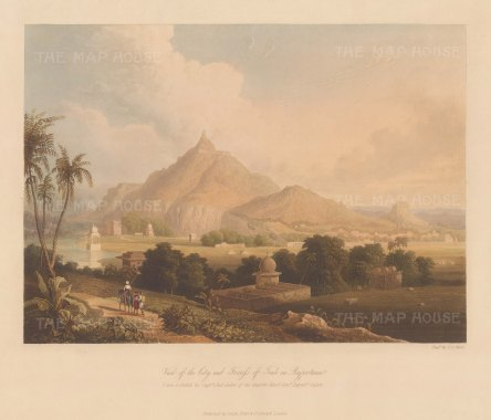 Raputana (Ragasthan): Tonk. View of the city and fort on the Banas River. After the on the spot drawing of Capt. Charles Auber.