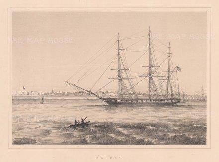 "Anderson: Madras. c1859. An original antique lithograph. 10"" x 8"". [INDp1529]"