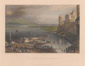 "White: Hurdwar. 1838. A hand coloured original antique steel engraving. 8"" x 6"". [INDp1534]"