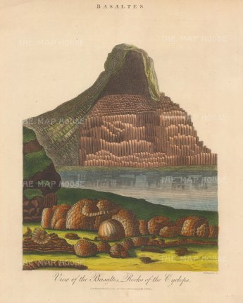 Mineralogy: Basalts of the Cyclops Sicily. Engraved by John Pass.