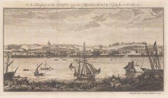 "London Magazine: Woolwich. 1756. An original antique copper engraving. 12"" x 6"". [LDNp10737]"