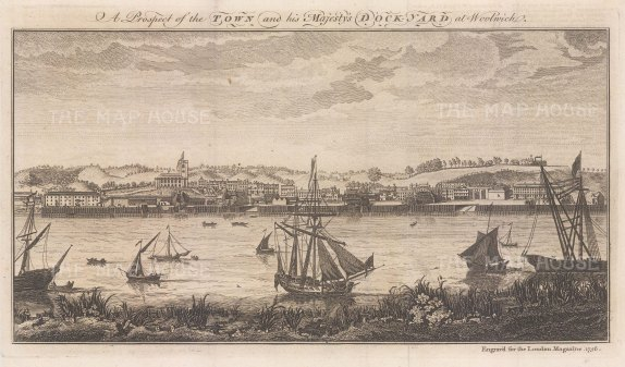 "London Magazine: Woolwich. 1756. An original antique copper engraving. 12"" x 6"". [LDNp10737]"