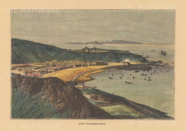 "Reclus: Aden, Yemen. 1894. A hand coloured original antique wood engraving. 8"" x 6"". [MEASTp1649]"