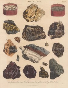Tin. Spathose Tin 1,2, Wood Tin from Cornwall 3-7. Tooth Tin 8-11, Saxon Tin 12, Garnet Tin 13,, 14, Tin in shorl 15, Crystalised Tin 16, 17. Engraved by John Pass.