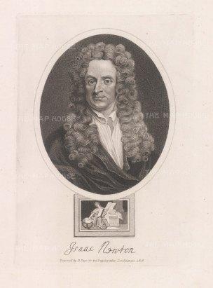 "Wilkes: Sir Isaac Newton. 1820. An original antique stipple engraving. 8"" x 11"". [SCIp79]"