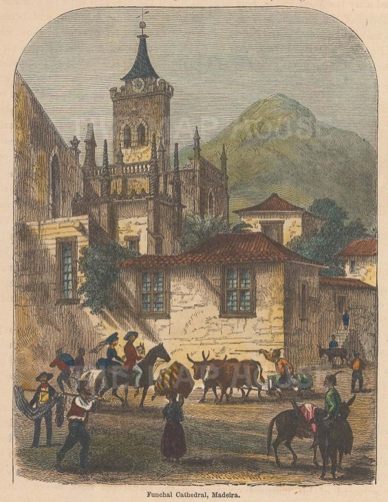 """Perry: Funchal Cathedral, Madeira. 1856. A hand coloured original antique wood engraving. 5"""" x 6"""". [AFRp1130]"""