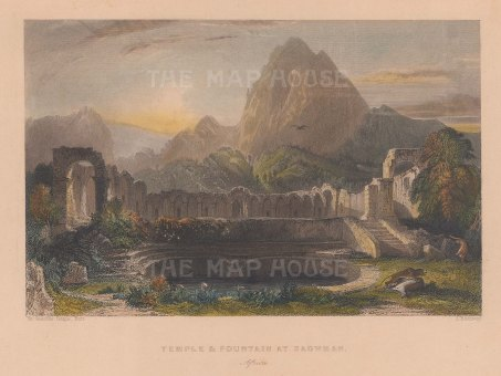 "Fisher: Zaghouan, Tunisia. 1841. A hand coloured original antique steel engraving. 8"" x 7"". [AFRp1198]"