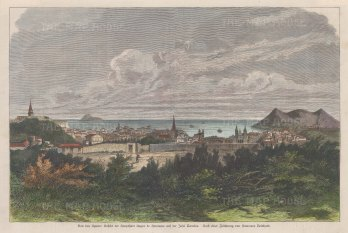 """Berliner Illustrirte Zeitung: Angra do Herísmo, Azores. c1895. A hand coloured original antique wood engraving. 14"""" x 10"""". [AFRp1286]"""