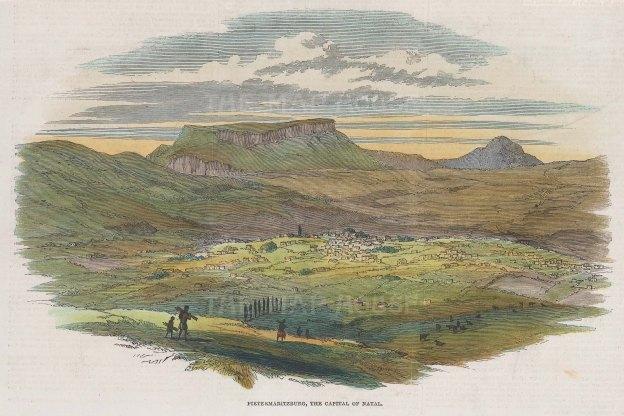 "Illustrated London News: Pietermaritzburg. c1870. A hand coloured original antique wood engraving. 10"" x 7"". [AFRp1321]"