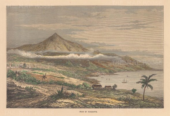 "Reclus: Tenerife, Canary Islands. 1894. A hand coloured original antique wood engraving. 7"" x 5"". [AFRp1367]"